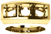 3-Stone Men's Ring Mounting for Round Shape Centergem Sized 2.00 mm to 6.00 mm - Customize Metal, Accents or Gem Type