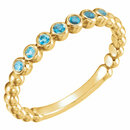 14KT Yellow Gold Blue Zircon Stackable Ring