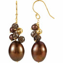 Freshwater Cultured Dyed Chocolate Pearl & Smoky Quartz Earrings