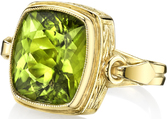 Handmade Unique Bezel Set 9.42ct Cushion Cut Peridot Gemstone Ring in Unique 18kt Yellow Gold Setting