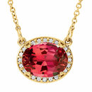 14KT Yellow Gold Chatham Created Ruby &.05 Carat Total Weight Diamond 16.5