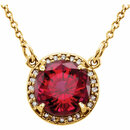 14KT Yellow Gold Chatham Created Ruby & .05 Carat Total Weight Diamond 16