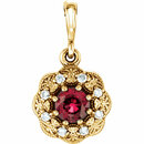 14KT Yellow Gold Ruby & .06 Carat Total Weight Diamond Pendant
