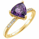 14KT Yellow Gold Amethyst & .08 Carat Total Weight Diamond Ring