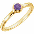 14KT Yellow Gold Amethyst Bezel Ring