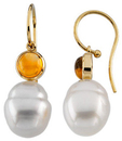 14KT White Gold 6mm Round Citrine Dangle Earrings