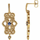 14KT Yellow Gold Tanzanite & .03 Carat Total Weight Diamond Granulated Design Dangle Earrings