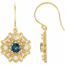14KT Yellow Gold London Blue Topaz & 1/2 Carat Total Weight Diamond Vintage-Style Earrings