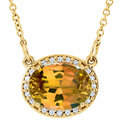 14KT Yellow Gold Citrine & .05 Carat Total Weight Diamond 16.5