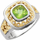 Peridot & Diamond Granulated Design Ring
