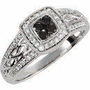Sterling Silver Black Spinel & 1/5 Carat Total Weight Diamond Ring Size 5