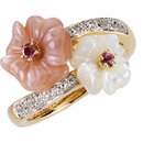 14KT Yellow Gold Genuine Pink Tourmaline, Mother Of Pearl & .04 Carat Total Weight Diamond Ring