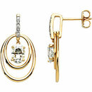 14KT Yellow Gold Forever Classic Moissanite & .03 Carat Total Weight Diamond Earrings