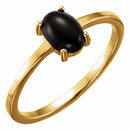 14KT Yellow Gold 7x5mm Oval Onyx Cabochon Ring