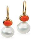 14KT Yellow Gold 8x6mm Carnelian & 12mm South Sea Cultured Pearl Earrings