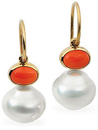 14KT White Gold 7x5mm Carnelian & 11mm South Sea Cultured Pearl Earrings