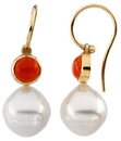 14KT White Gold 6mm Round Carnelian Dangle Earrings