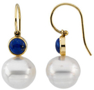 14KT White Gold 6mm Round Lapis Dangle Earrings