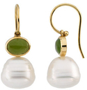 14KT White Gold 7x5mm Nephrite Jade Semi-set Earrings for Pearls