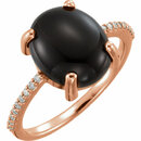 14KT Rose Gold 12x10mm Oval Cabochon Onyx & .08 Carat Total Weight Diamond Ring