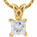Charles & Colvard Moissanite Square 4-Prong V-End Necklace