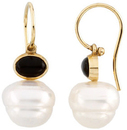 14KT Yellow Gold 8x6mm Onyx Semi-set Earrings for Pearls