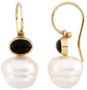 14KT White Gold 7x5mm Onyx Semi-set Earrings for Pearls
