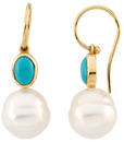 14KT White Gold Turquoise & 11mm South Sea Cultured Pearl Earrings