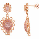14KT Rose Gold Morganite & Pink Tourmaline Earrings