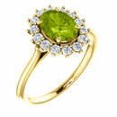 14KT Yellow Gold Peridot & 3/8 Carat Total Weight Diamond Ring