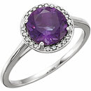 14KT White Gold Amethyst & .05 Carat Total Weight Diamond Ring
