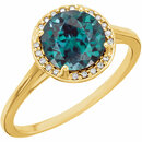 14KT Yellow Gold Chatham Created Alexandrite and .05Carat Total Weight Diamond Ring