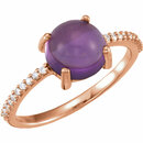14KT Rose Gold 8mm Round Cabochon Amethyst & 1/10 Carat Total Weight Diamond Ring