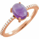 14KT Rose Gold 8x6mm Oval Cabochon Amethyst & 1/10 Carat Total Weight Diamond Ring
