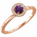14KT Rose Gold Amethyst & .05 Carat Total Weight Diamond Ring