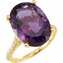 14KT Yellow Gold Amethyst & 1/4 Carat Total Weight Diamond Ring
