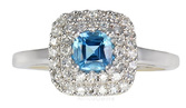Stunning Deep Blue .44 ct 4.60mm Zambian Aquamarine set in Antique Classic Style14 kt  Gold Ring