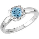 Unique 8 Prong White Gold Ring set with a Genuine .55ct 5.2mm Aquamarine Round Cut of Deep Blue Color on SALE