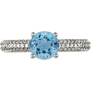 Gorgeous Deep Blue Round .6ct 5.2mm Aquamarine Solitaire Gem Mounted in Pave Diamond Ring for SALE