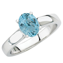 Classic Style Large GEM 1.1ct 8x6mm Aquamarine Solitaire in 14 kt White Gold Ring for SALE