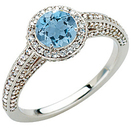 Pave Diamond Encrusted White Gold Ring set with Stunning Xtra Blue .9ct 5.8mm Aquamarine Gem for SALE