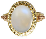 Dazzling Rainbow Moonstone Ring Bezel Set in 18 kt Gold with Intricate Gold Engraving  - SOLD