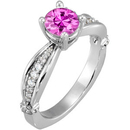 Lovely and Radiant Sculpted Style set with 1 carat 6mm Pink Sapphire Solitaire Engagement Ring - Dazzling Diamond Accents