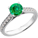 Fetching Genuine Gorgeous Green 1 carat 6mm Emerald Round Solitaire Engagement Ring With Inset Diamond Accents in Band