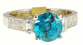 Fantastic Round Blue Zircon and Diamond Gemstone Ring in 18kt gold for SALE - SOLD