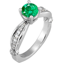 Fetching Sculpted Style GEM Grade Natural 1 carat 6.00 mm Emerald Solitaire Engagement Ring - Dazzling Diamond Accents