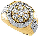 Bejeweled 1.50 Carat Total Weight Two Tone Gents 3.80 mm Diamond Ring set in 14 karat Yellow/White gold