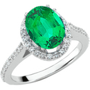 Dazzling High Quality Diamond Ring Mounting set with 1.30 carat  GEM Grade 8x6mm Genuine Emerald Gemstone on SALE