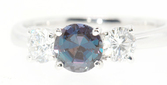 Classic Style Genuine .75 carat 5.2mm Dramatic Color Change Real Alexandrite & 0.40 ct Diamond Ring in Platinum