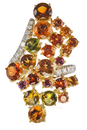 Incredible Display of Color! Must See Multi Colored Custom Made Andrew Sarosi Gemstone Ring with Diamonds - SOLD